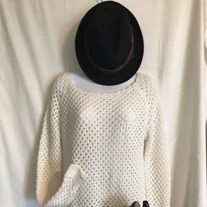 LOFT white crocheted sweater.